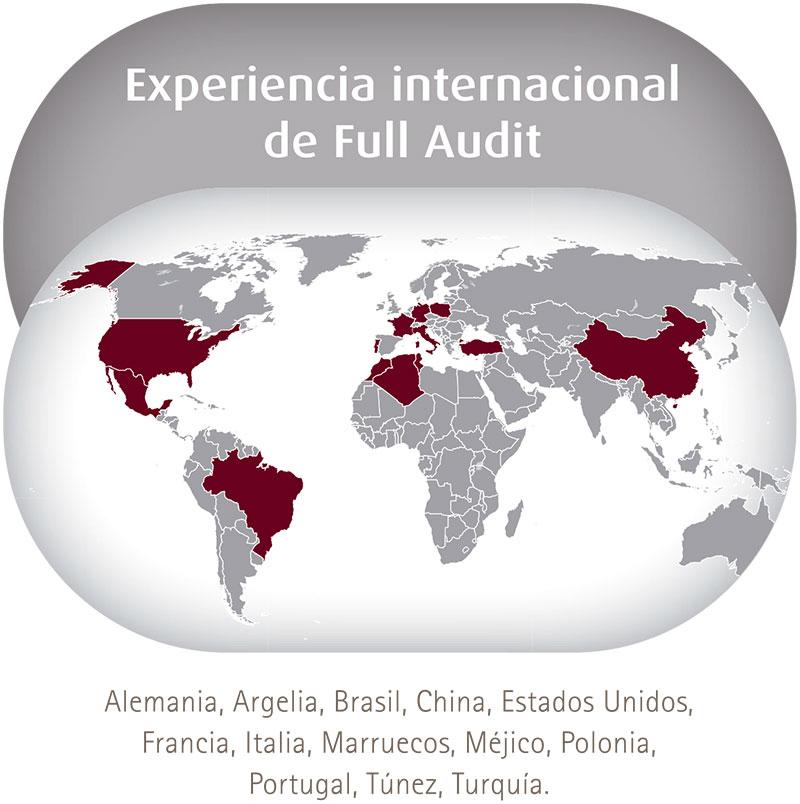 Experiencia internacional de Full Audit: Alemania, Argelia, Brasil, China, EEUU, Francia, Italia, Marruecos, Méjico, Polonia, Portugal, Túnez, Turquía.
