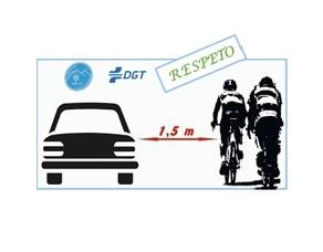 Respeta la distancia de 1,5m entre ciclista y automóvil