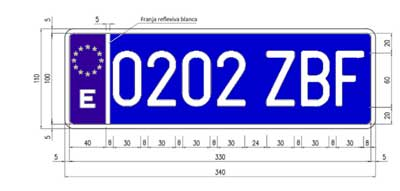 Placas de matrículas traseras azules para taxis y VTC